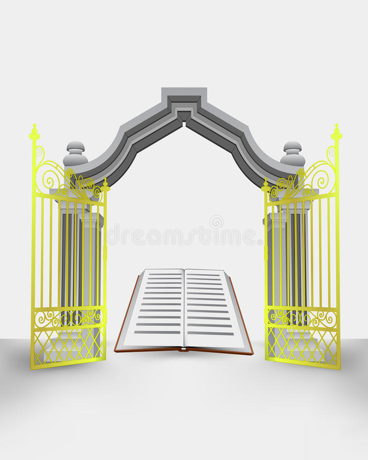 Golden gate entrance with open book vector illustration