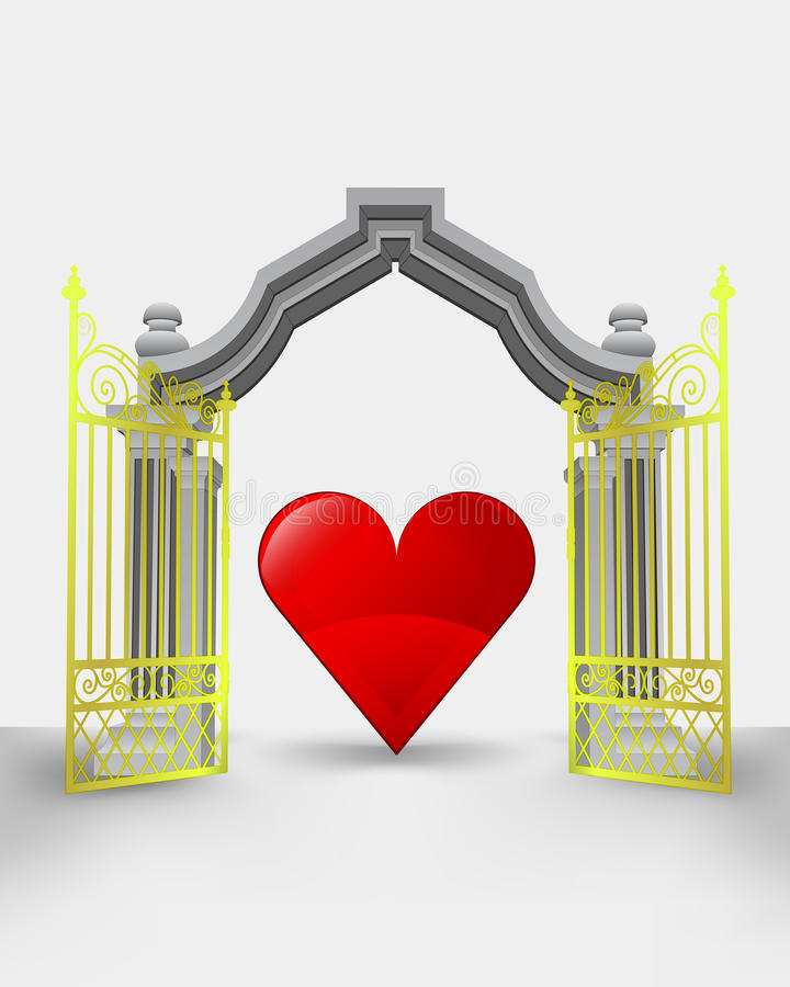 Golden gate entrance with red heart stock illustration