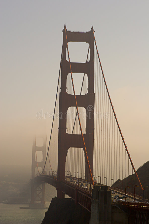 Golden Gate in Fog stock images