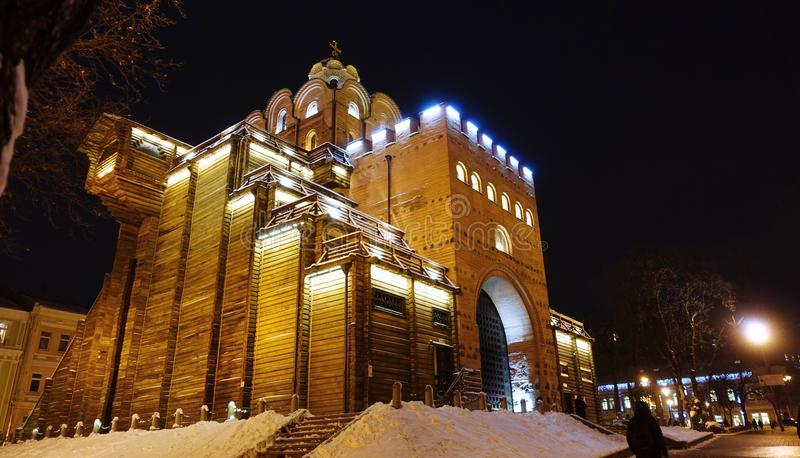 Golden Gate in Kiev on a winter night. royalty free stock images