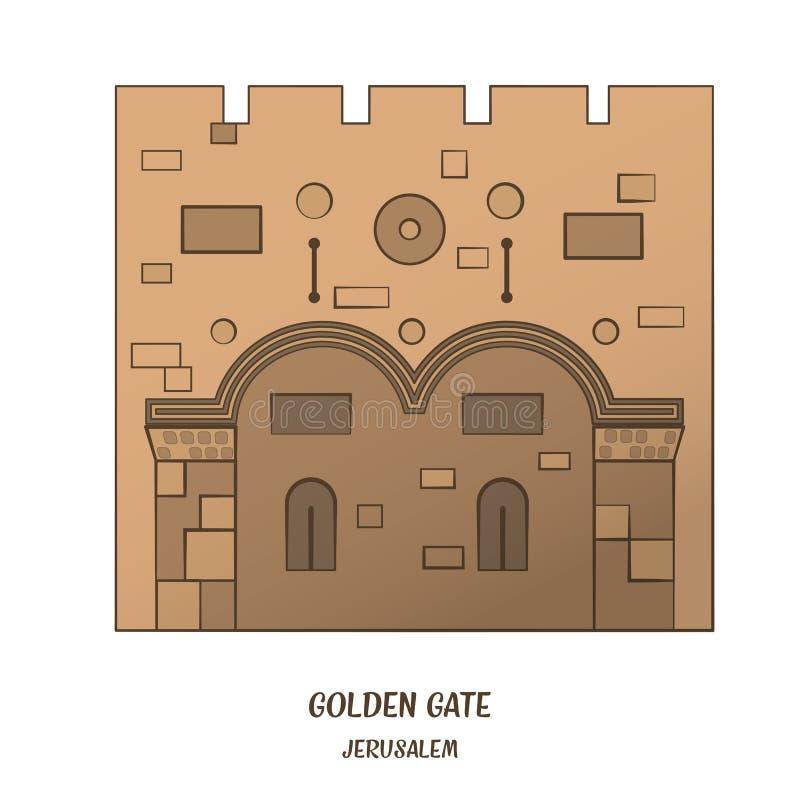 Golden Gate in Jerusalem. Golden Gate in Old City of Jerusalem. Vector illustration. EPS 10 stock illustration