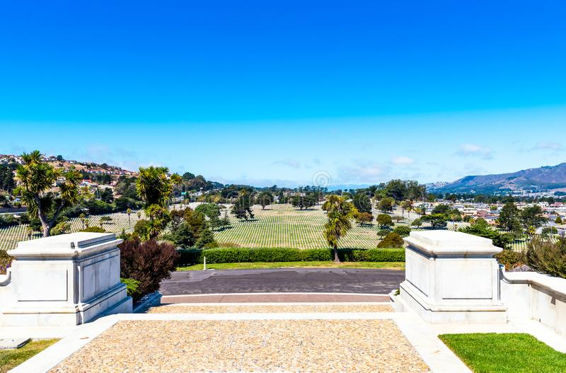Golden Gate National Cemetery, San Bruno, California, USA. Copy space for text.  royalty free stock images