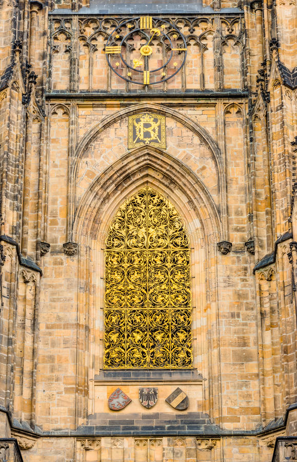 Golden Gate of St. Vitus cathedral in Prague royalty free stock photography