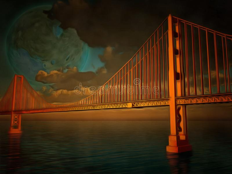 Golden Gate. Surreal painting. Golden Gate bridge. Terraformed moon in the sky royalty free illustration