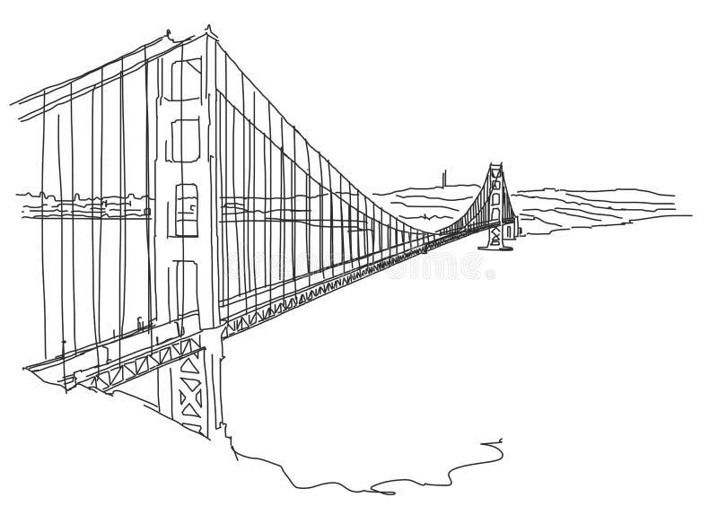 Golden Gate tiré par la main, San Francisco Griffonnage de vecteur illustration stock