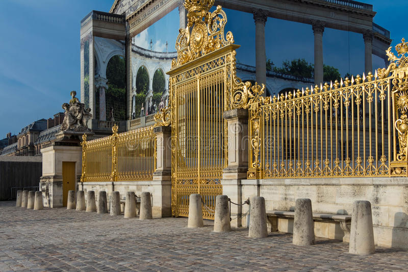 The golden gate at the Versailles castle, France. royalty free stock images