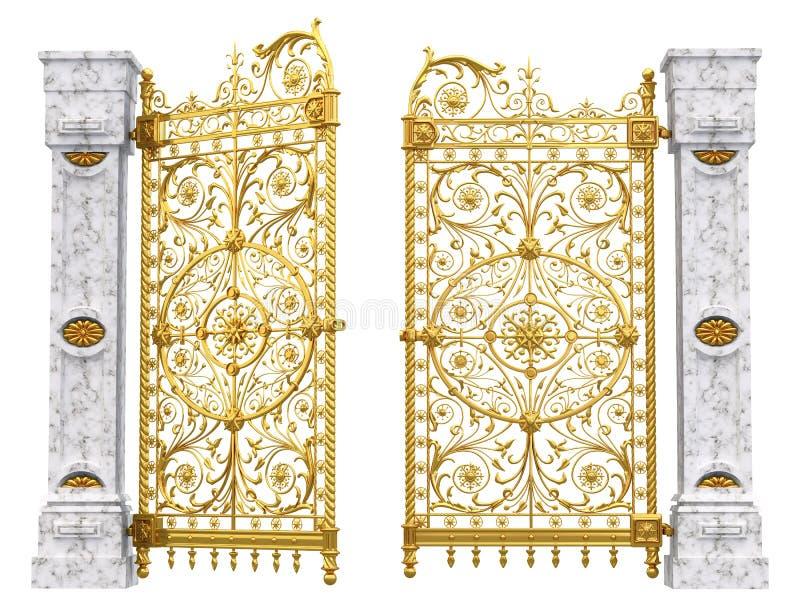 Golden gates and columns stock illustration