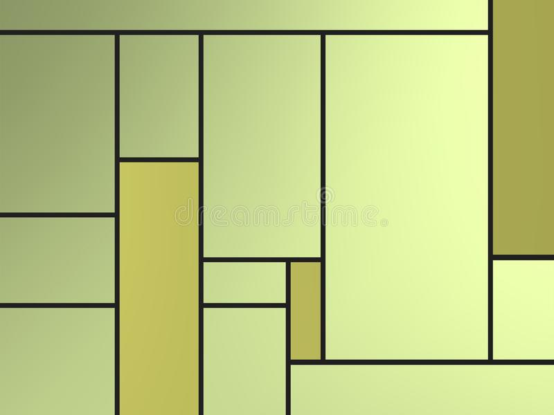 Golden geametric composition of tribute to Mondrian with green rectangles over white. Compositions of geometric pattern with different colors and easy to use royalty free illustration