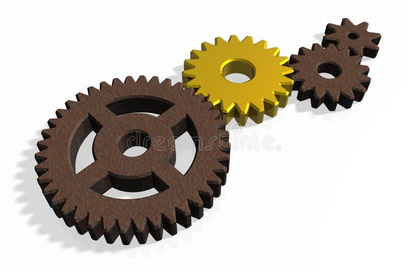 Golden gear vector illustration