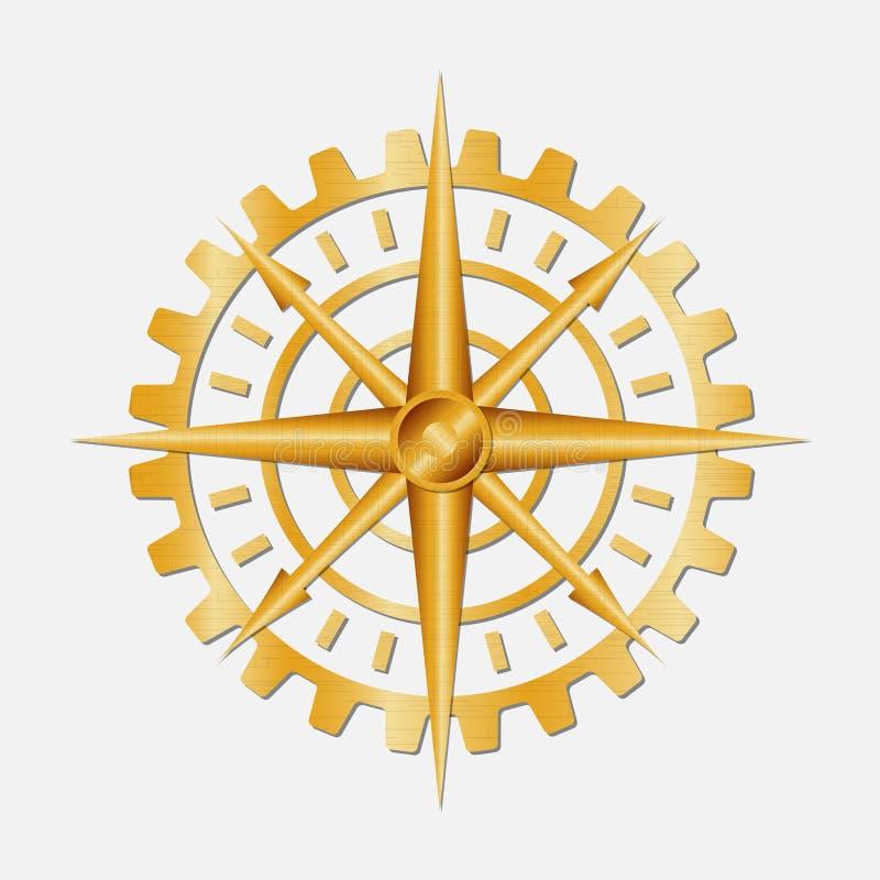 Golden gear compass. royalty free illustration