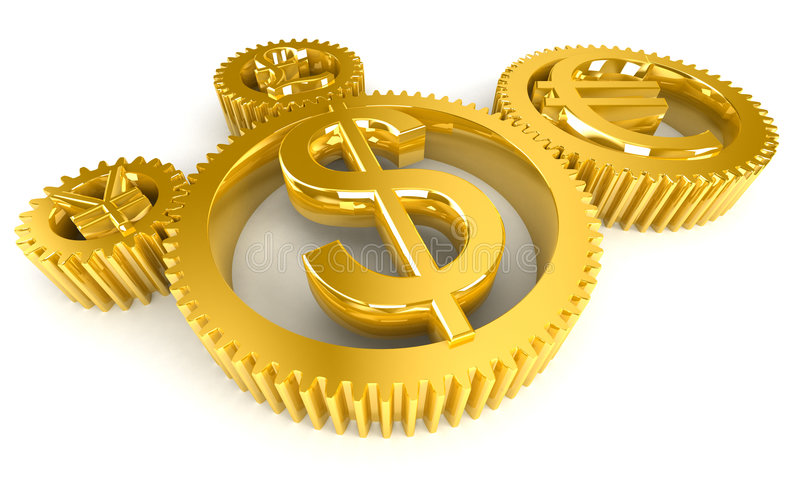 Golden gears. Currency symbols in 3D vector illustration