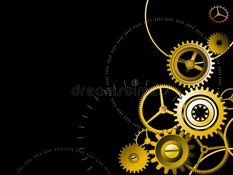 Golden gears background royalty free illustration