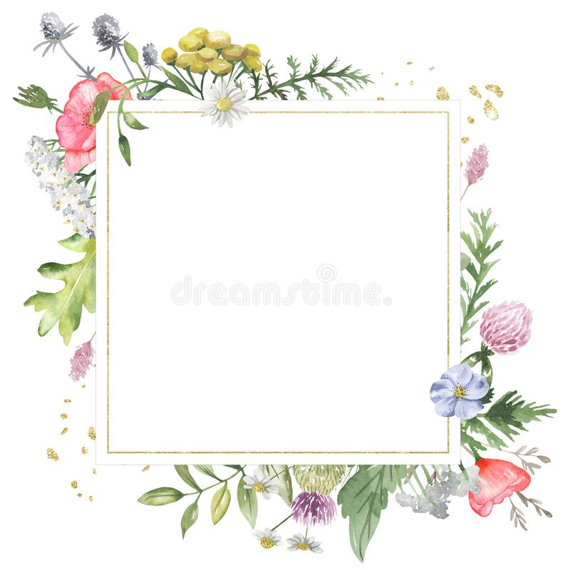 Golden geometric frame with watercolor wildflowers. Template for the text in the form of a square, heart, circle, rhombus. Great for cards, invitations stock illustration