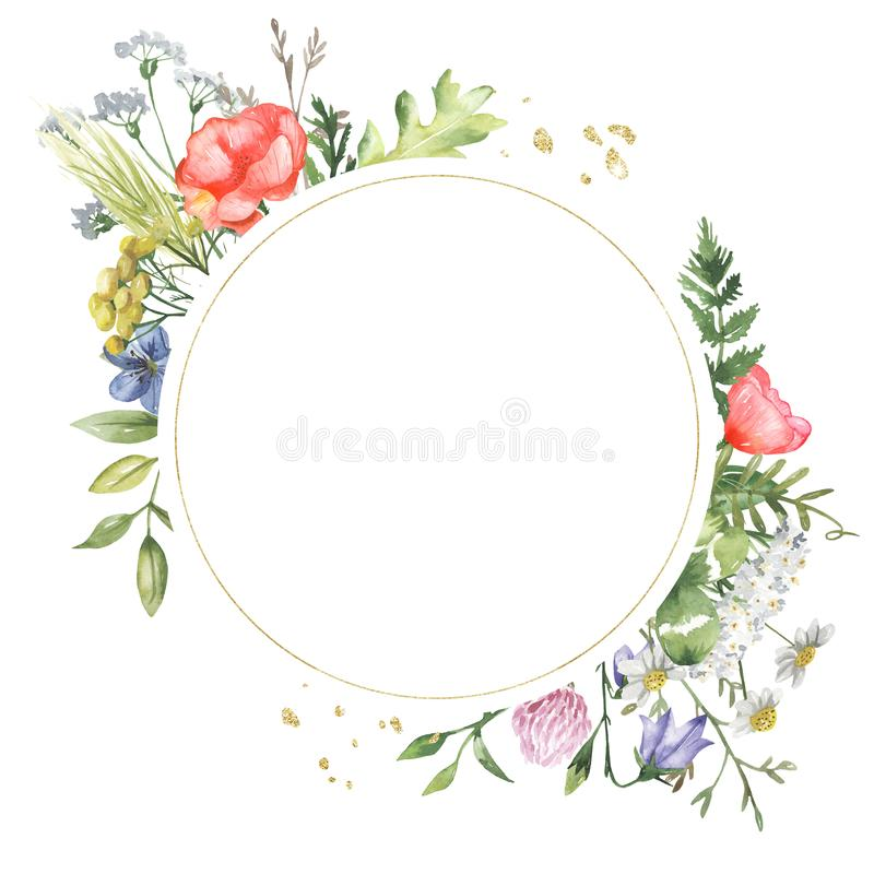 Golden geometric frame with watercolor wildflowers. Template for the text in the form of a square, heart, circle, rhombus. Great for cards, invitations royalty free illustration