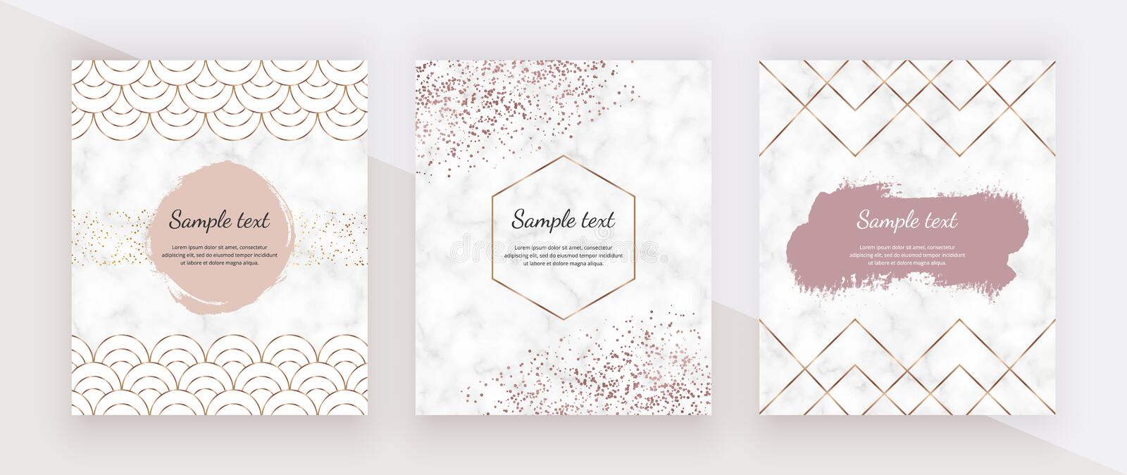 Golden geometric polygonal lines, mermaid scale fish, rose gold confetti and watercolor brush stroke and marble texture. Trendy te vector illustration