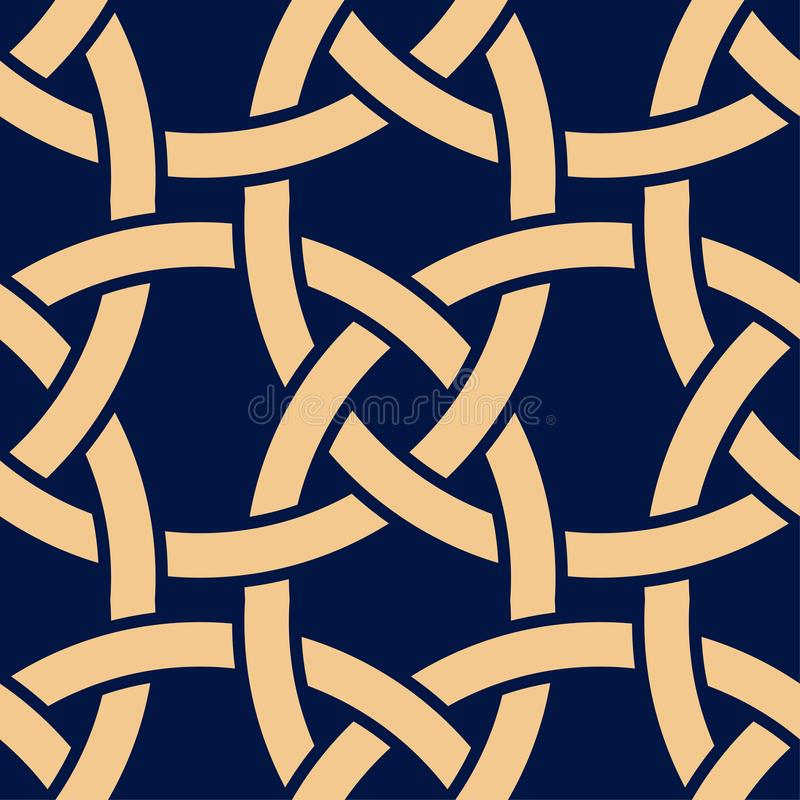 Golden geometric print on dark blue background. Seamless pattern royalty free illustration