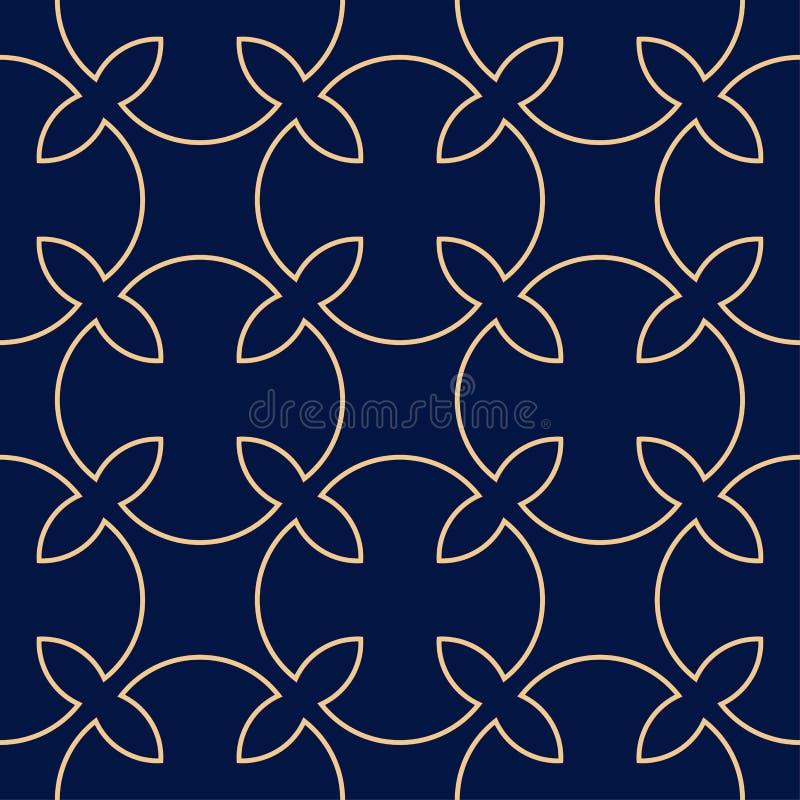 Golden geometric print on dark blue background. Seamless pattern vector illustration