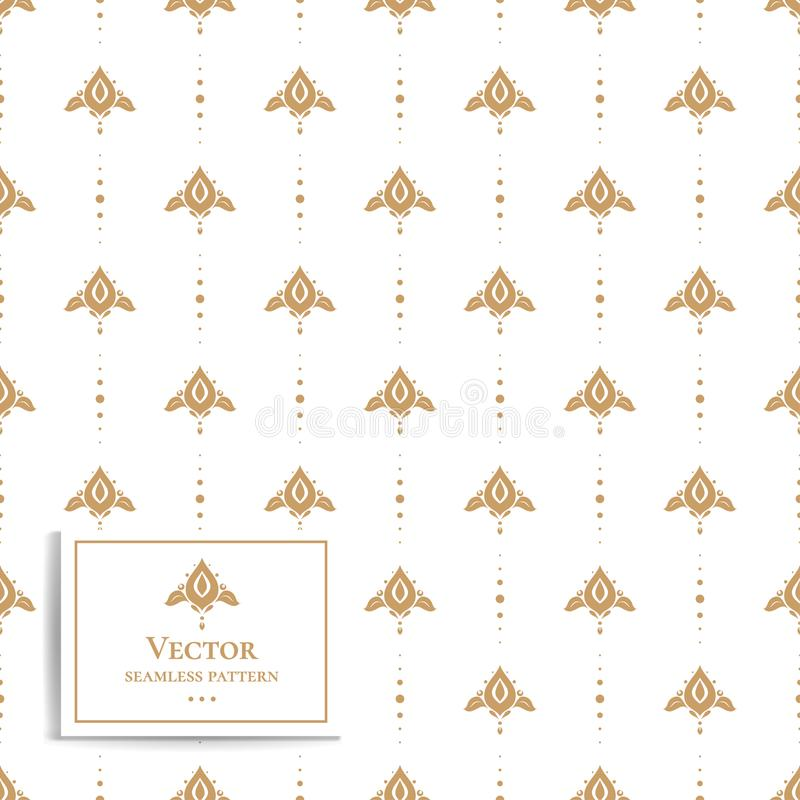 Golden geometric seamless floral pattern. Vintage. Minimal. Stylized flowers. royalty free illustration