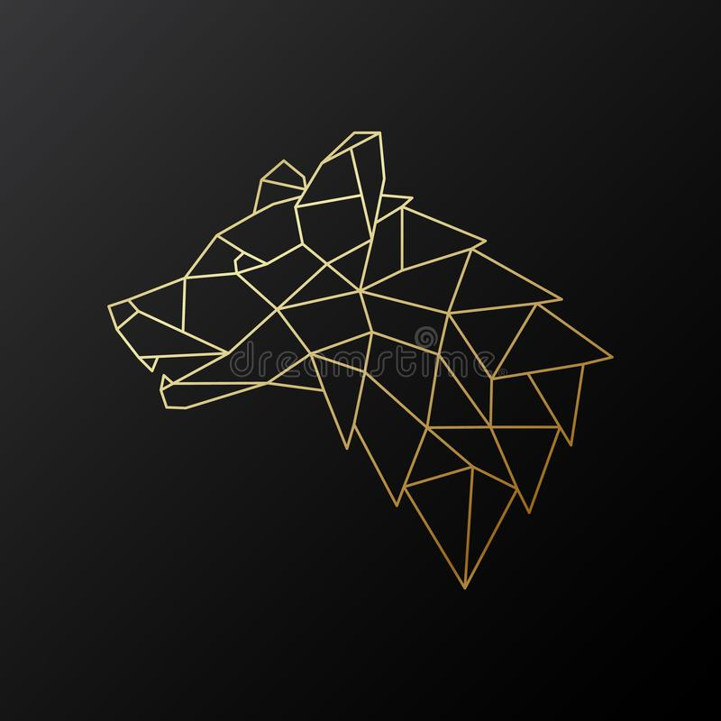 Golden geometric Wolf head illustration isolated on black background. stock illustration