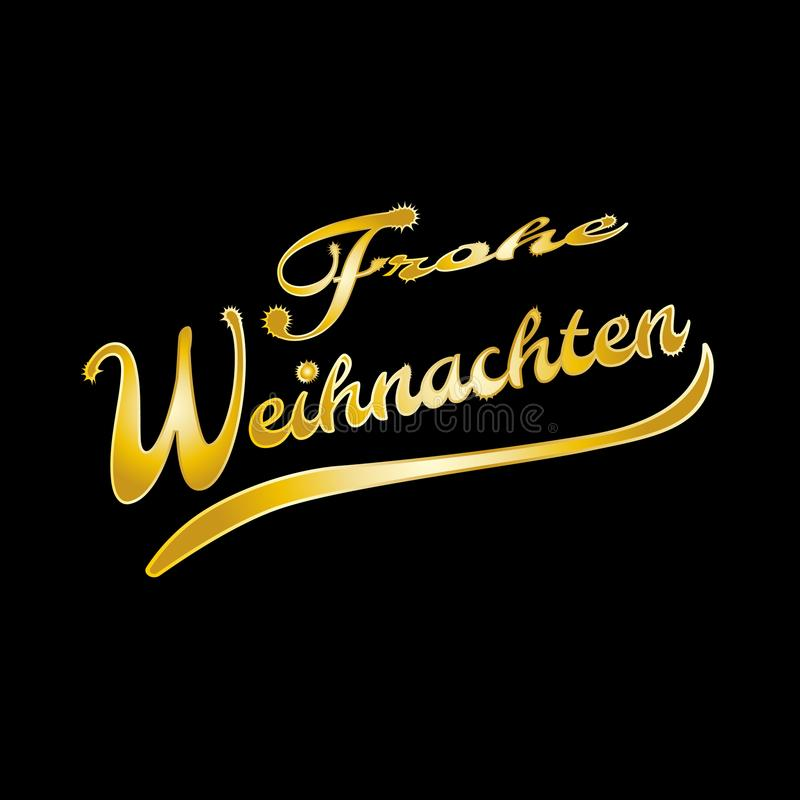 Golden German words Merry Christmas royalty free illustration