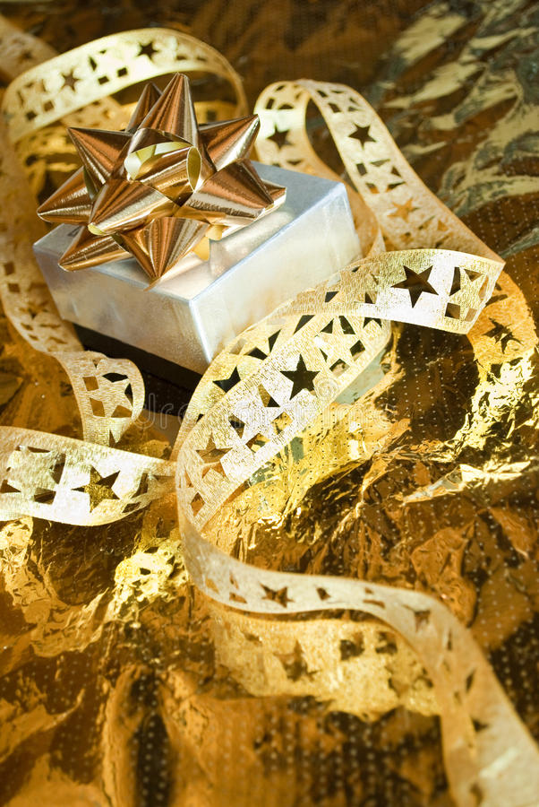 Download Golden gift stock image. Image of wrapping, feast, birthday - 17111659