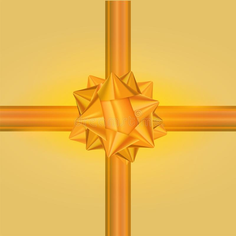 Golden Gift Bow And Ribbon Glossy Holiday Decoration On Yellow Background Vector Illustration royalty free illustration