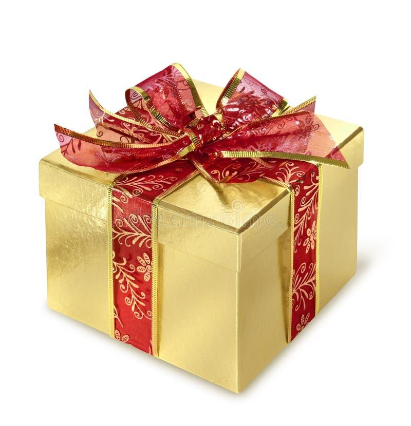 Golden gift box stock image