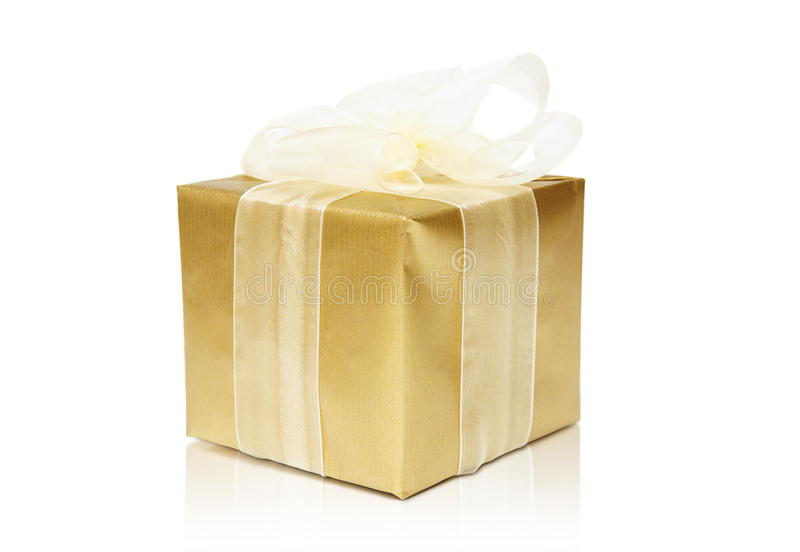 Golden gift box royalty free stock image