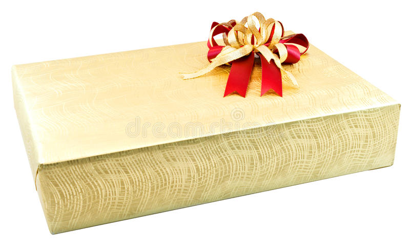 Golden gift box. On white background for boxing day royalty free stock photography