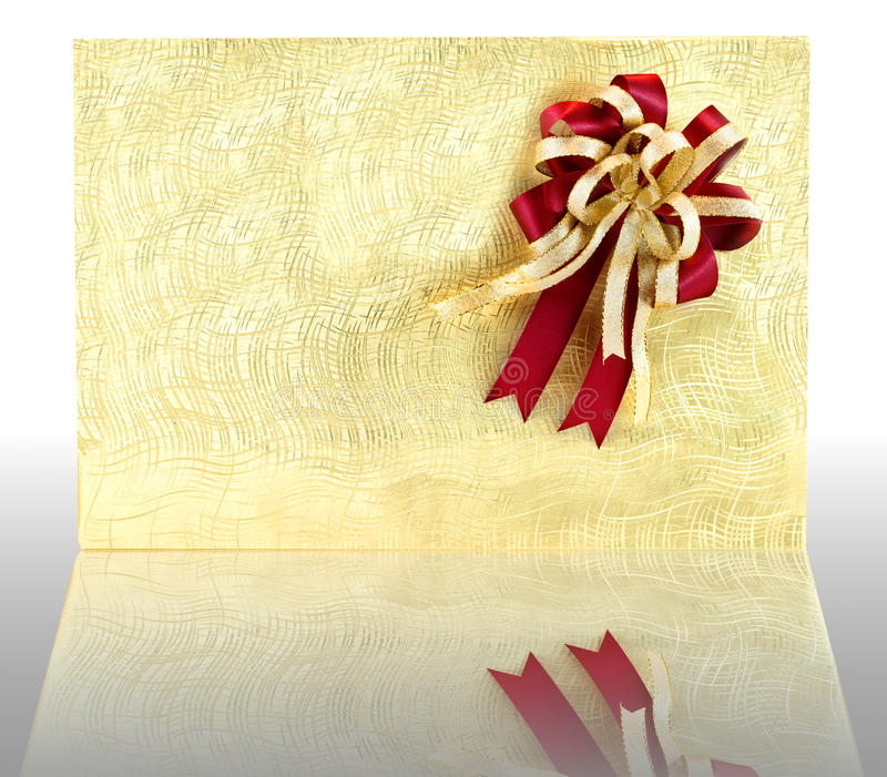 Golden gift box. On white background for boxing day royalty free stock photos
