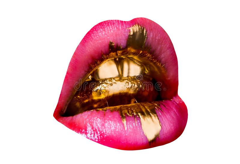 Golden glamorous tongue in sexy female mouth. Brilliant shiny golden teeth, pink lipstick and drop of tenderness. Luxury. Background stock image
