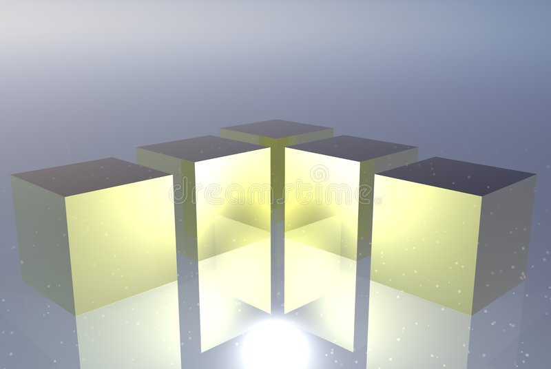 Golden glass boxes royalty free stock images