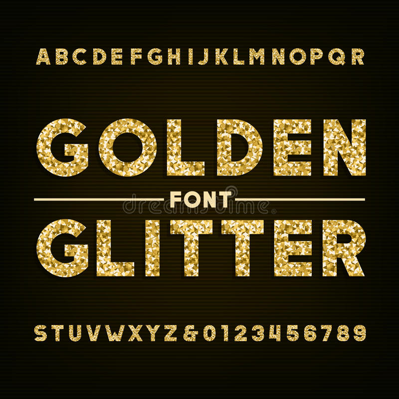 Golden glitter alphabet font. Bold letters and numbers. Stock vector typography for your design royalty free illustration