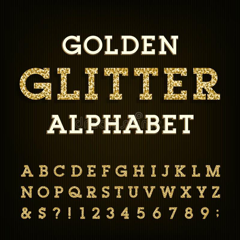 Golden Glitter Font On White  Modern Decorative Alphabet For