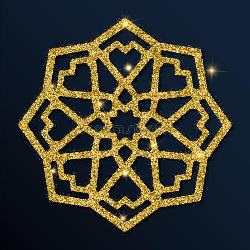Golden glitter beauteous snowflake. Luxurious christmas design element, vector illustration stock illustration