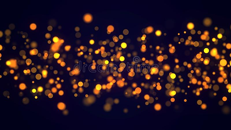 Golden glitter bokeh glowing sparks particles dark festive background stock images