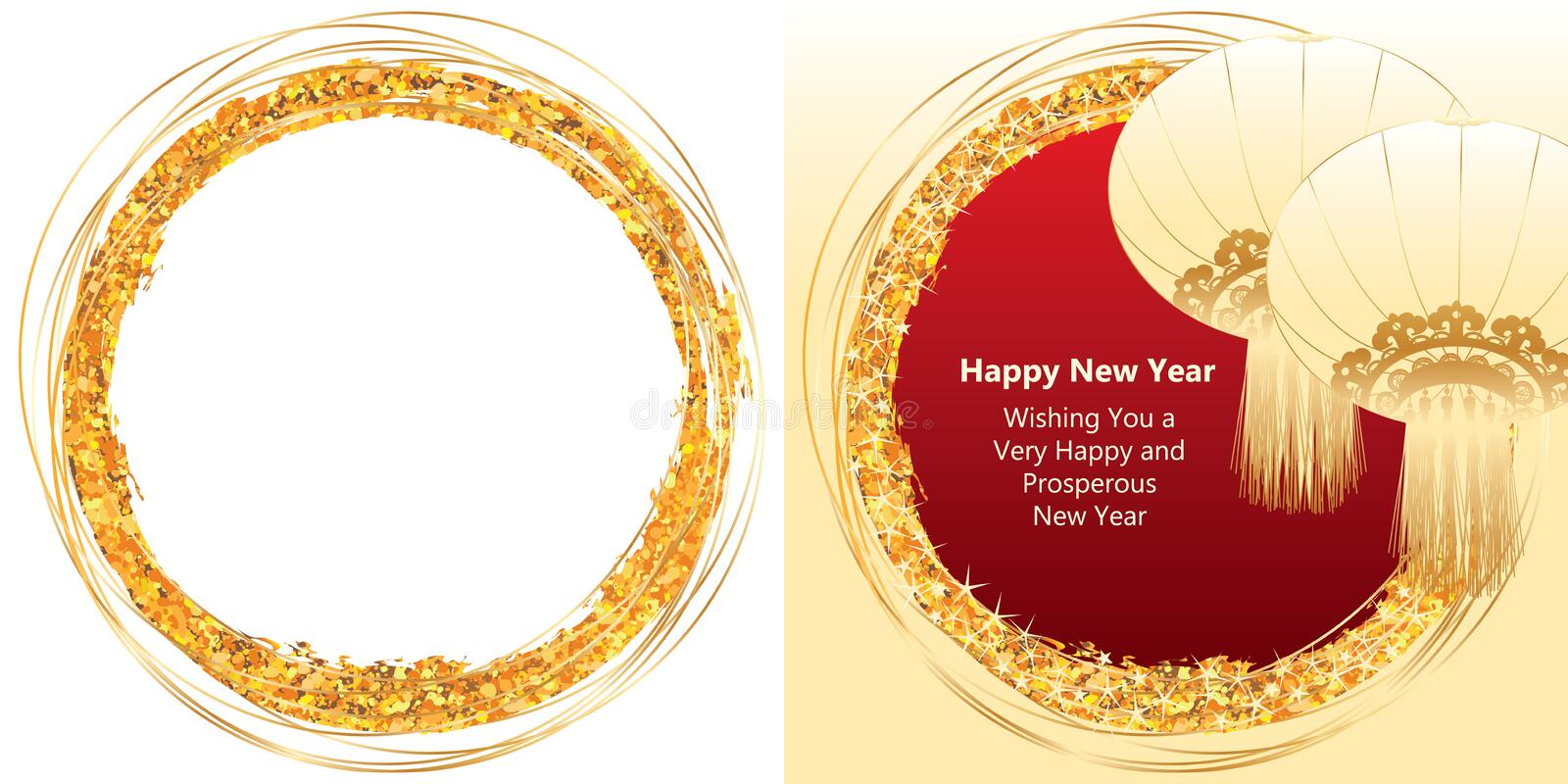 Golden glitter brush bright circle royalty free illustration