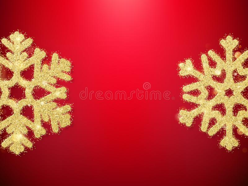 Golden glitter Christmas decoration object snowflakes for greeting cards, invitations, gifts on red. EPS 10 royalty free illustration
