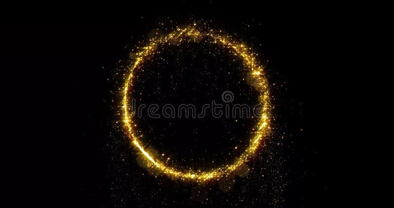Golden glitter circle of sparkling light shine. Gold glittering ring, magic shimmer glow, bright light sparks bokeh effect. Golden glitter circle with sparkling stock photo