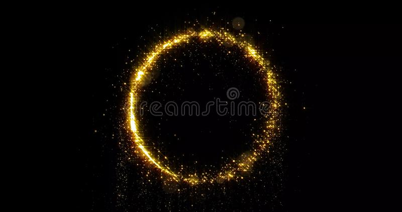 Golden glitter circle, sparkling light shine and particles bokeh glow. Gold glittering ring, magic shimmer light. Golden glitter circle, sparkling light shine royalty free stock photos