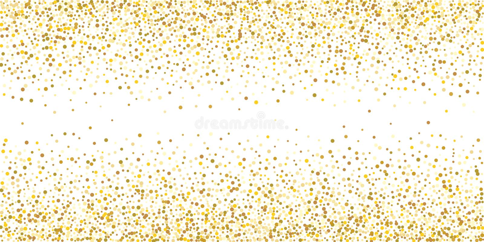 Golden glitter confetti. On a white background. Illustration of a drop of shiny particles. Decorative element. Luxury background for your design, cards royalty free stock image