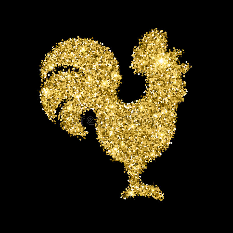 Golden glitter crowing rooster with sparkles isolated on black background. Chinese symbol for the New year 2017. royalty free illustration