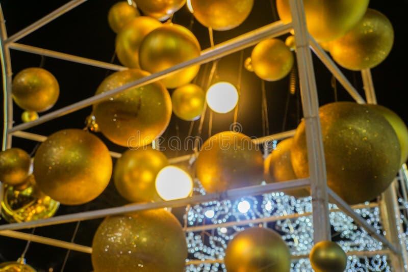 Golden glitter decorative balls for Christmas festive stock photo