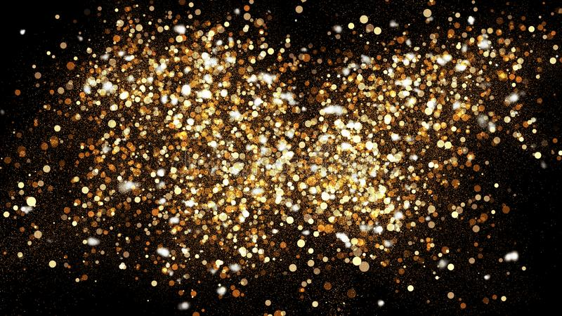 Golden glitter dust on black background. Sparkling splash illustration with gold powder. Bokeh glowing magic mist effect royalty free illustration