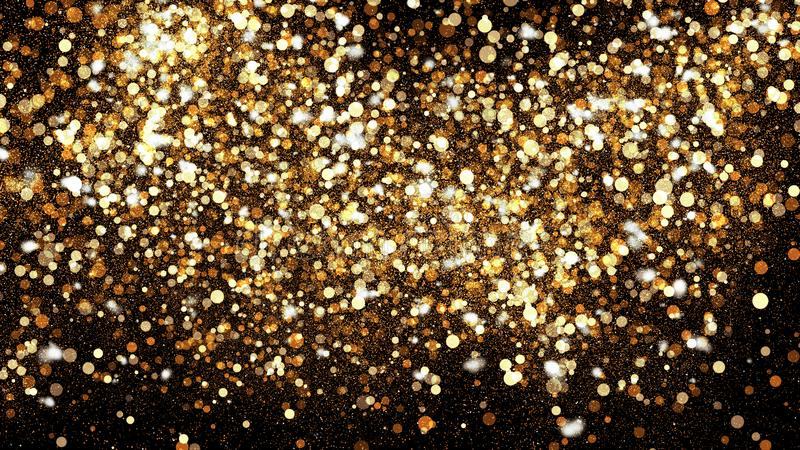 Golden glitter dust on black background. Sparkling splash illustration with gold powder. Bokeh glowing magic mist effect stock images