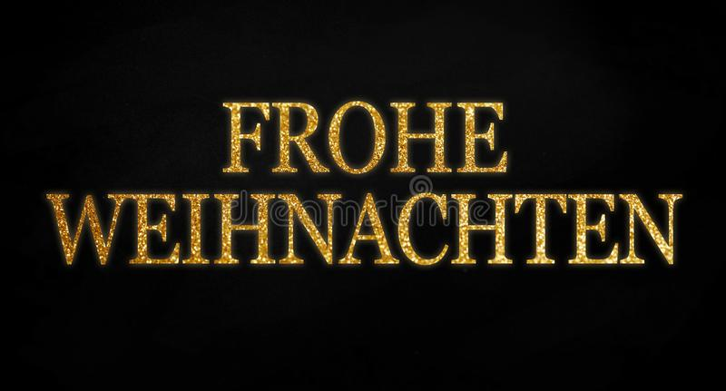 Golden glitter with the german word merry christmas - frohe weihnachten on black chalkboard background vector illustration