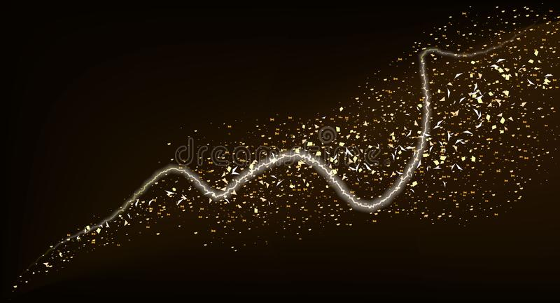 Golden glitter glare wave or gold sparkling light twist trail on premium luxury background with glittery mist effect. Vector stock illustration