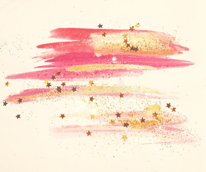 Golden glitter and glittering stars on abstract pink and gold watercolor splashes in vintage nostalgic colors royalty free illustration