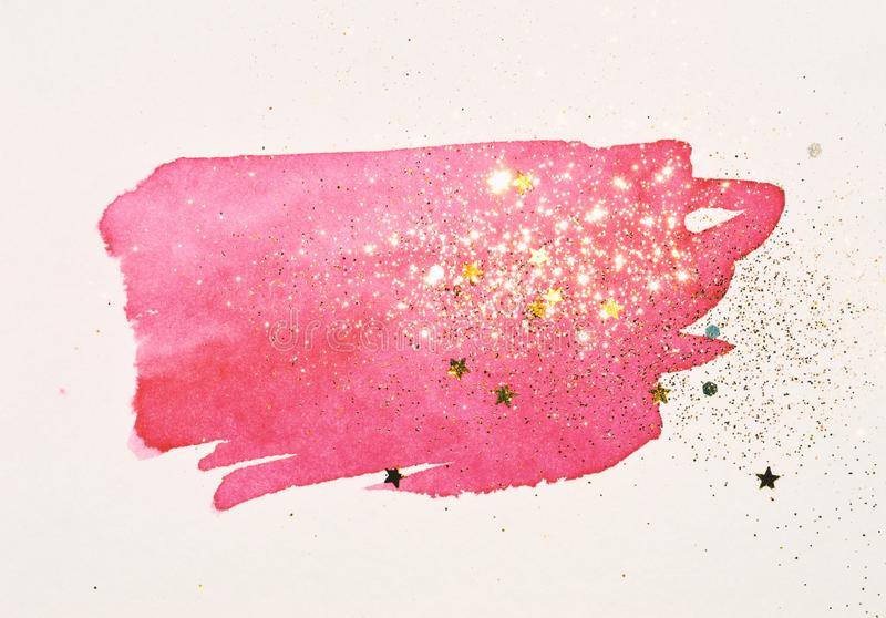 Golden glitter and glittering stars on abstract pink watercolor splash in vintage nostalgic colors royalty free illustration