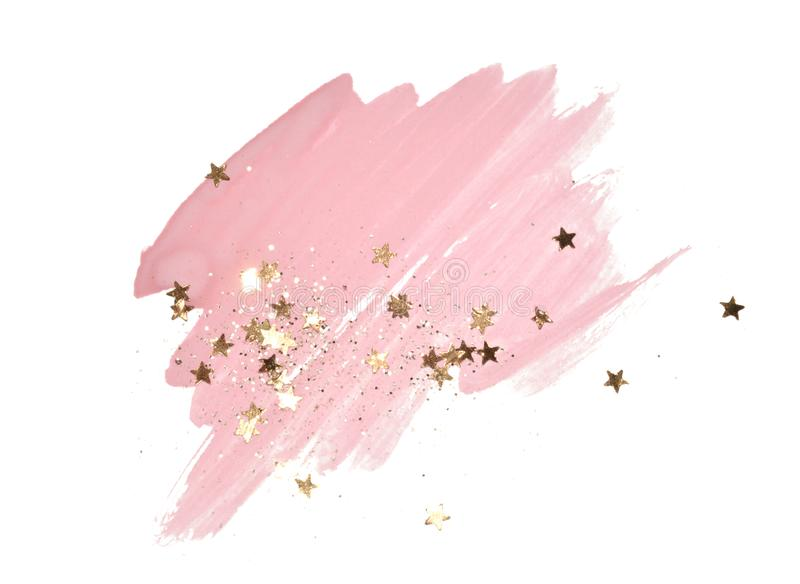 Golden glitter and glittering stars on abstract pink watercolor splash on white background vector illustration